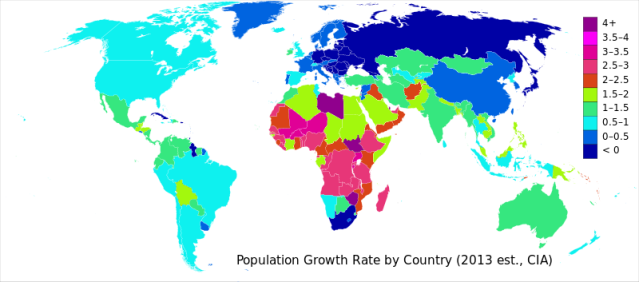 Countries shown by population growth rate (annual percentage of growth).
