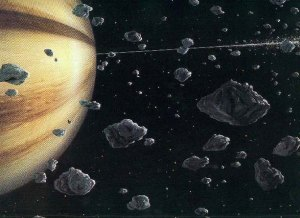 Artist's depiction of planet Jupiter and asteroids. Credit Kazuaki Iwasaki Space Art Gallery:  http://www2.wbs.ne.jp/~kisag/english/gallery/gallery.html