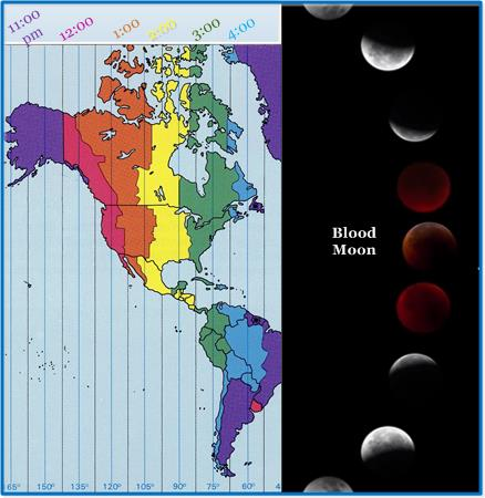 """A rare """"blood moon"""" will be in the western skies early Tuesday morning. You can determine what time it'll be visible to you by the times listed above."""