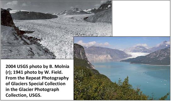 The melting of the Muir Glacier in Alaska attests to the current instability of the planet.