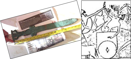 "This old, corroded sword (left) was reportedly dug up from a mysterious, ancient cache on Oak Island, Canada, this year. Swords of similar relative size were etched into ancient stone reliefs (right), depicting battles between Egyptians (in chariots) and ""invading Sea Peoples from the north."""